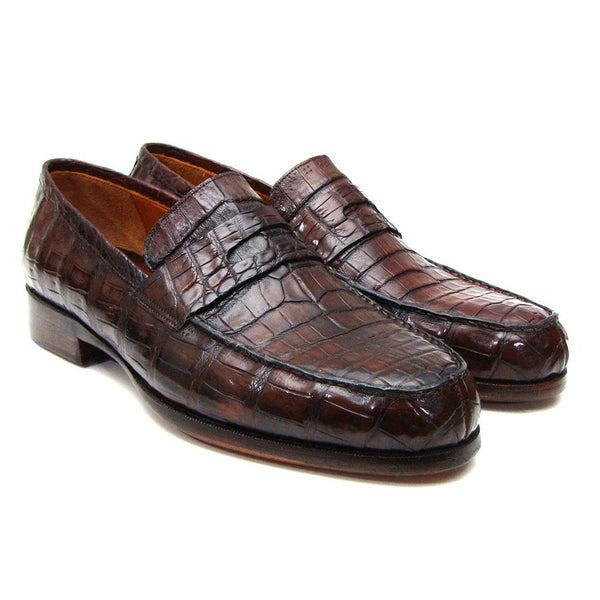 Paul Parkman Men's Brown Genuine Crocodile Penny Loafers (ID#PN49LF)-Men - Shoes - Loafers & Drivers-Paul Parkman Handmade Shoes-The Luxury Upgrade