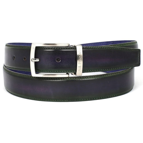 PAUL PARKMAN Men's Leather Belt Dual Tone Green & Purple (ID#B01-GRN-PURP)-Men - Accessories - Belts-Paul Parkman Handmade Shoes-The Luxury Upgrade