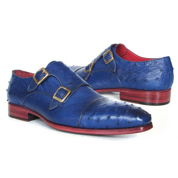 Paul Parkman Sax Blue Genuine Ostrich Double Monkstraps (ID#37U33)-Men - Shoes - Oxfords-Paul Parkman Handmade Shoes-The Luxury Upgrade