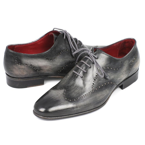 Paul Parkman Wintip Oxfords Gray & Black Handpainted Calfskin (ID#741-GRY)-Men - Shoes - Oxfords-Paul Parkman Handmade Shoes-The Luxury Upgrade