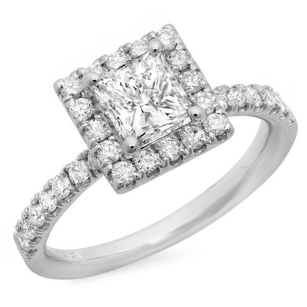 Princess Cut Center Diamond with Round Diamond Side Stones Gold Engagement Ring at 1.54 Carat Total Weight-Rings-The Luxury Upgrade-The Luxury Upgrade