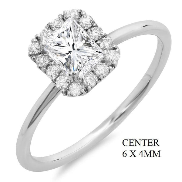 Princess Cut Center Stone and 14 Round Diamond Halo Gold Engagement Ring at 0.64 Carat Total Weight-Rings-The Luxury Upgrade-The Luxury Upgrade