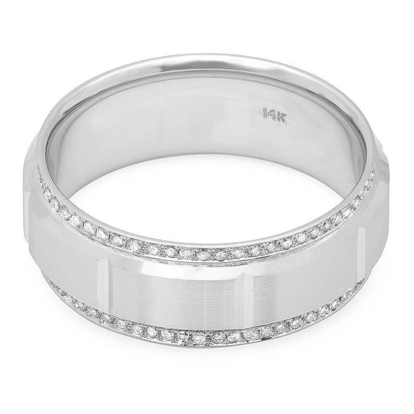 Mens Wedding Bands With Diamonds.Rectangular Elevation Diamond Edge Men S Wedding Band With 126 Small Round Diamonds At 0 53 Carats Total Weight