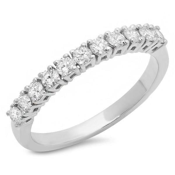 Round Diamonds Prong Set Gold Wedding Band Ring at 0.50 Carat Total Weight-Rings-The Luxury Upgrade-The Luxury Upgrade