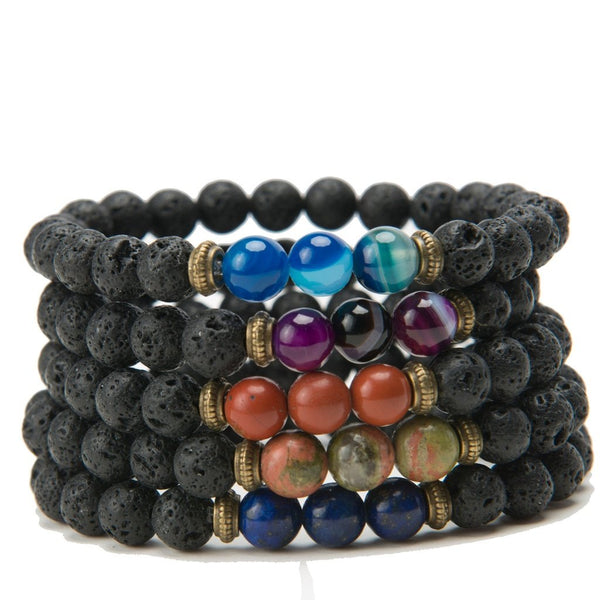 Seraphina Lava Stone Stacking Bracelets-Women - Jewelry - Bracelets-Peace + Love +Bling ~ Ethical is Beautiful-Purple Agate Seraphina Bracelet B1607-The Luxury Upgrade