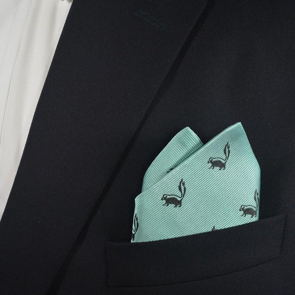 Skunk Pocket Square - Sea Green, Woven Silk-Men - Accessories - Scarves-SummerTies-The Luxury Upgrade