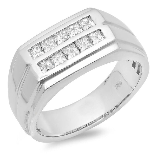 Stacked Style with 10 Princess Cut Diamonds Men's Wedding Band at 0.84 Carat Total Weight-Bands-The Luxury Upgrade-The Luxury Upgrade