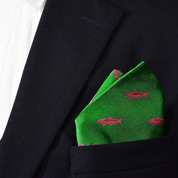 Trout Pocket Square - Green, Woven-Men - Accessories - Scarves-SummerTies-The Luxury Upgrade