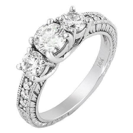 Vintage Style Alternating Size three Stone Round Diamond and Gold Engagement Ring at 1.29 Carat Total Weight-Rings-The Luxury Upgrade-The Luxury Upgrade
