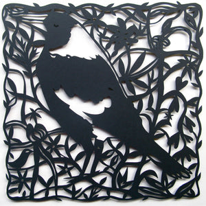 Sue Codee - Magpie with Wildflowers Woodcut (scod138)