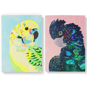 Braw Paper Co. - Budgerigar and Black Cockatoo Blank Pack of 2 Notebooks (tri032)