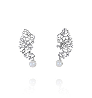 Keiko Uno - 'Fragments' Fresh Water White Pearl Sterling Silver Earrings (kun052)