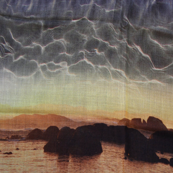 Chrisea Designs - 'Greens Pool Sunset' Wool/Silk Wrap (cde022)