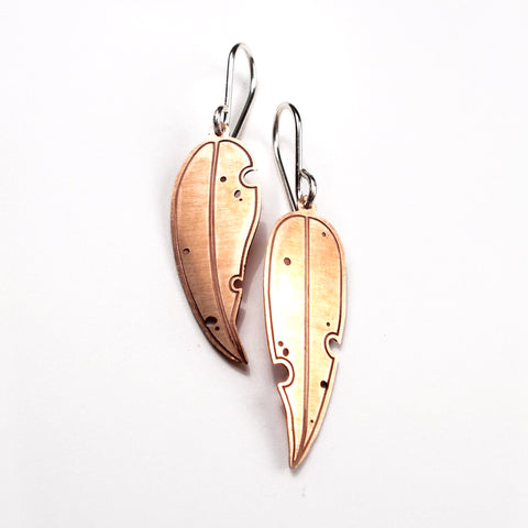 Jessica Jubb -  'Eucalyptus' Etched Copper Earrings (jju024)