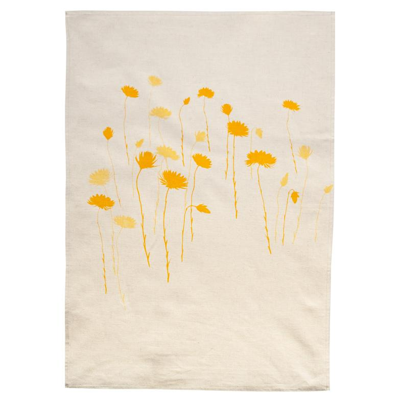 Elwyn Morgan - Yellow Everlasting Tea towel (emo016)