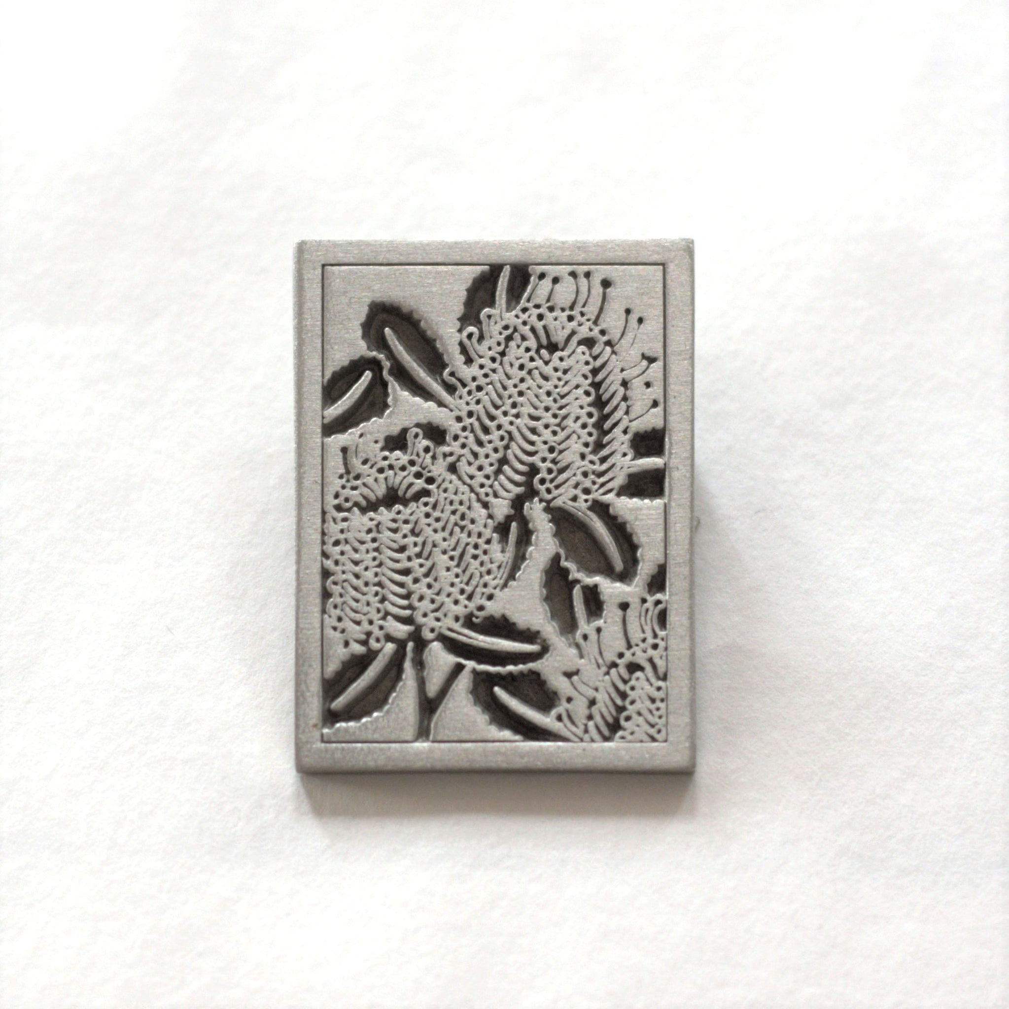 Garry & Jan Zeck -  'Scarlet Banksia' Pewter Brooch (gze103)