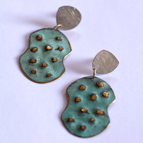 Andrea Osses - Oxidised Turquoise Silver and Brass Drop Earrings (aos020)