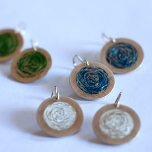 Barbara Cotter - Medium Round Fine Silver Earrings with Vitreous Enamel (bco028)