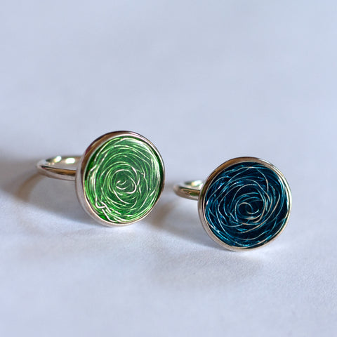 Barbara Cotter - Small Round Fine Silver Ring with Vitreous Enamel (bco029)