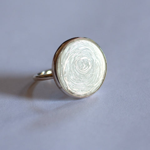 Barbara Cotter - Medium Round Fine Silver Ring with Vitreous Enamel (bco030)