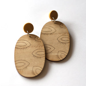 sca.har. - Timber Dangle Studs with Polymer Clay (hpe010)