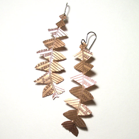 Jessica Jubb -  'Banksia Grandis' Etched Copper Earrings (jju002)