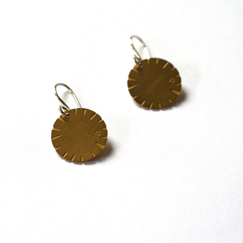 Jessica Jubb -  'Disk Bloom' Etched Brass Earrings (jju010)