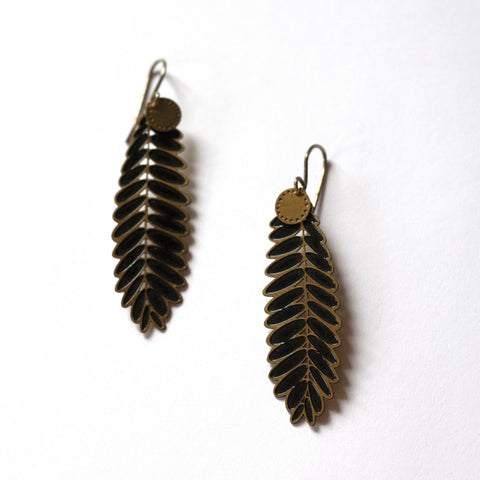 Jessica Jubb -  'Senna Blossom Black' Brass Earrings (jju012)
