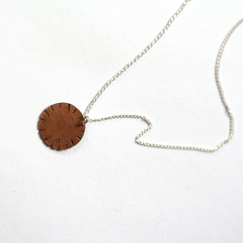 Jessica Jubb -  'Disk Bloom' Etched Copper Necklace (jju017)