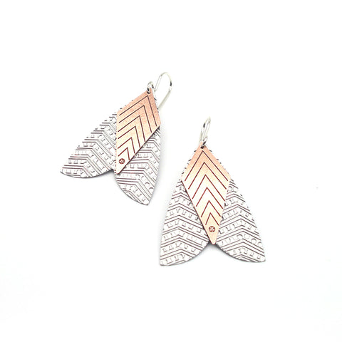 Jessica Jubb - Stainless Steel Etched Moth Earrings (jju196)