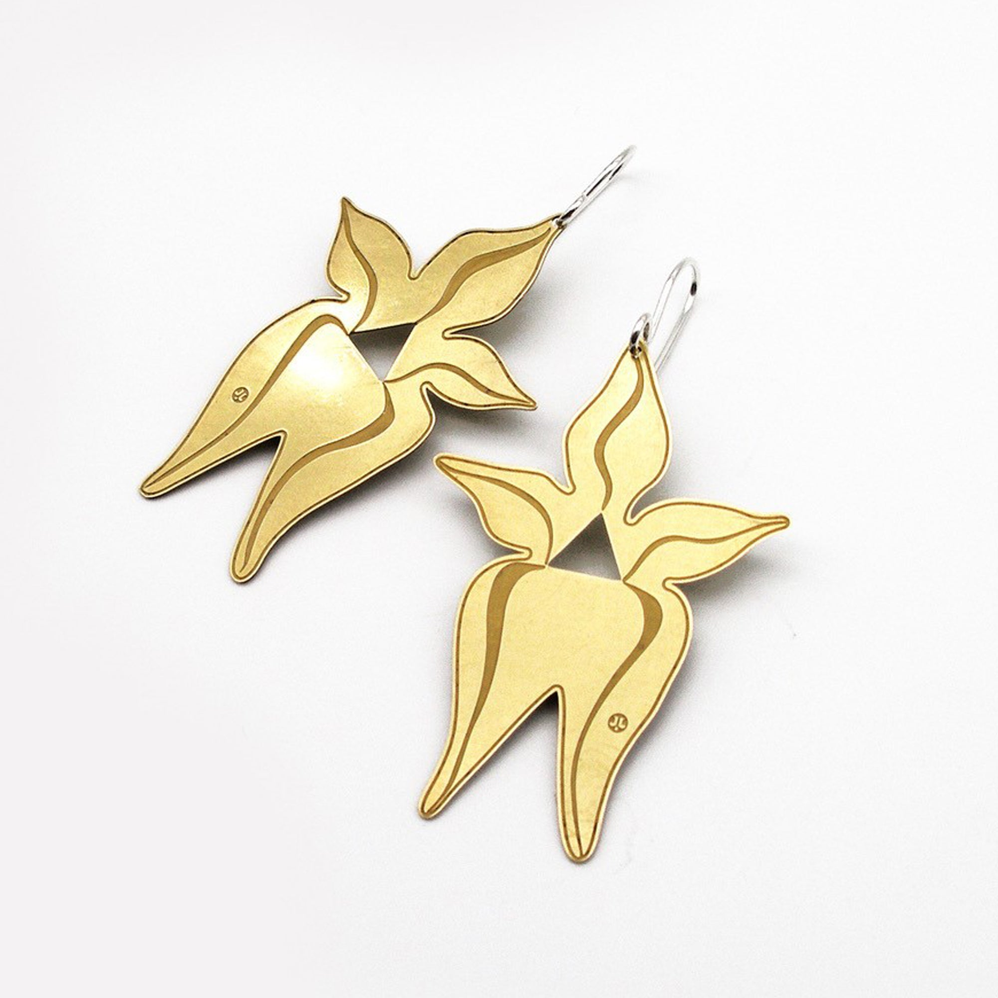 Jessica Jubb -  'Cowslip' Etched Brass Earrings with Sterling Silver Hooks (jju005)