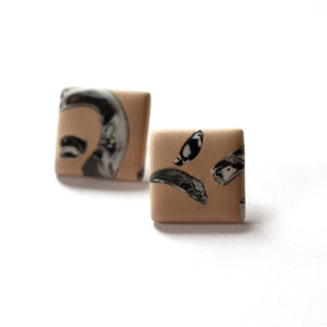 Clay Pigeon - Polymer Clay Square Stud Earrings (ksta55)