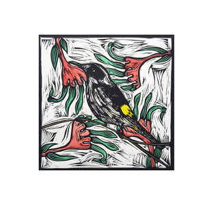 Nicola Cowie -  'Honey Eater' Framed Linocut (nco8)