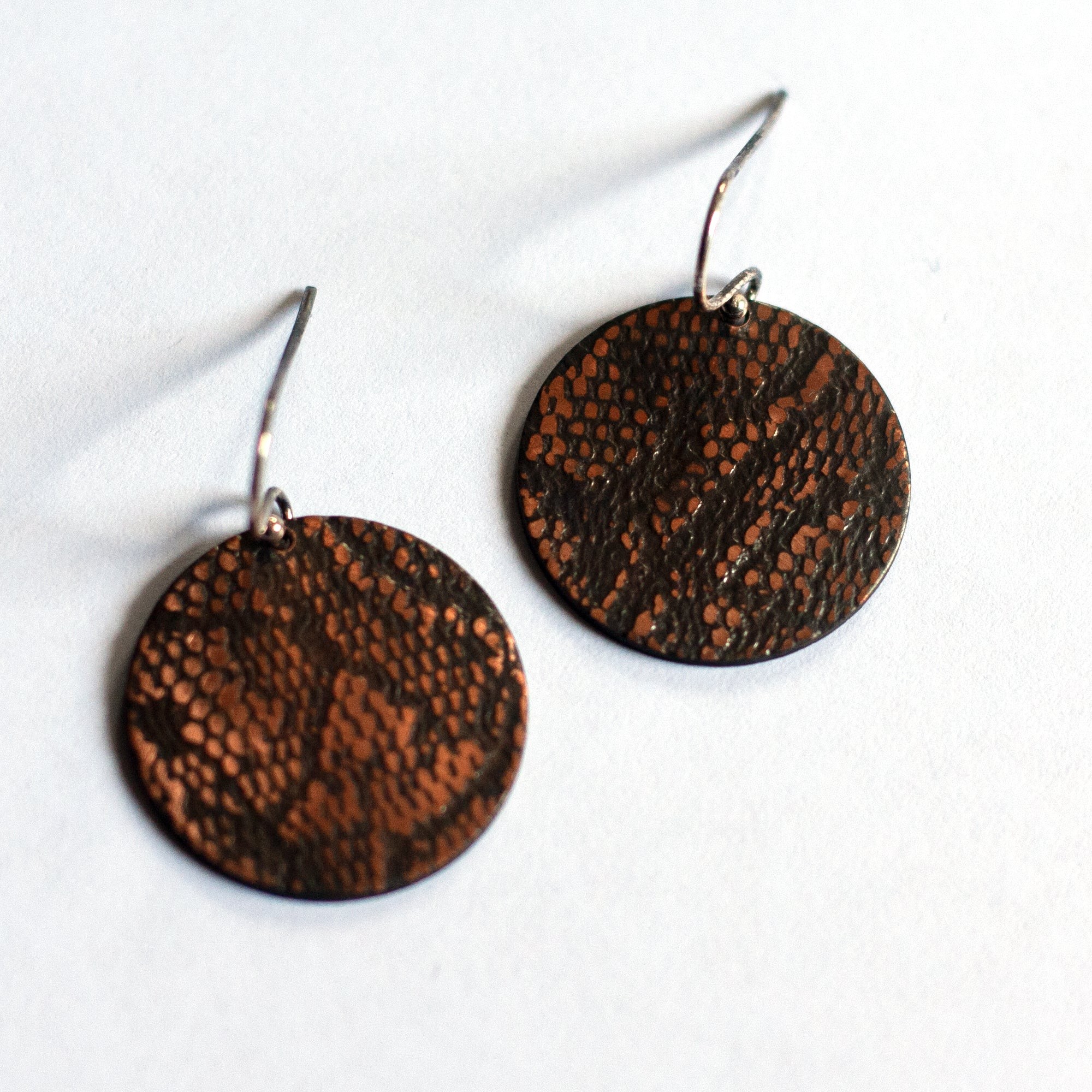 Ruth Casey - Sterling Silver and Copper Disk Earrings (rca043)