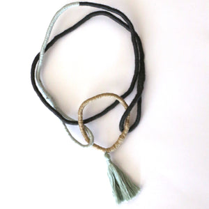 Sian Boucherd - Greys with Mint Tassel Wearable Necklace (sbo009)