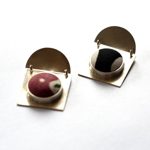 Susannah Kings-Lynne - Large Square Sterling Silver Fabric Button Studs (skl011)