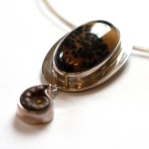 Tineke Van Der Eecken -  Fossil and Agate Sterling Silver Necklace (tva001)