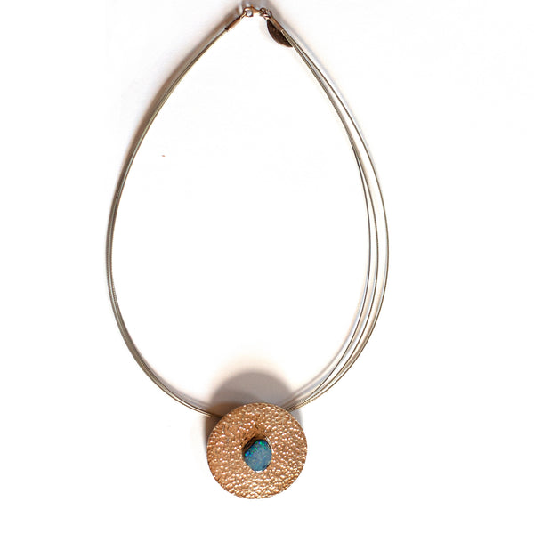 Tineke Van Der Eecken -  Sterling Silver and Opal Pendant with Stainless Steel Necklace (tva108)