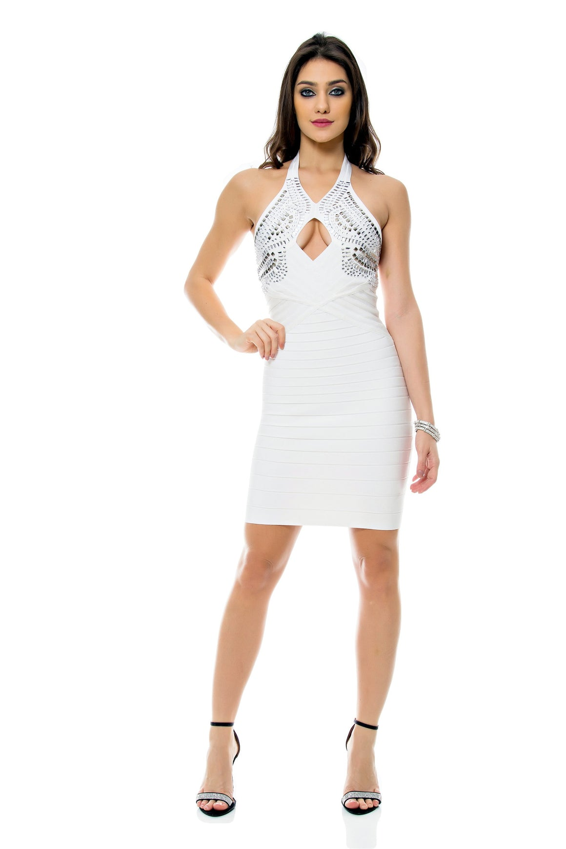 Jeweled Halter Bandage Dress