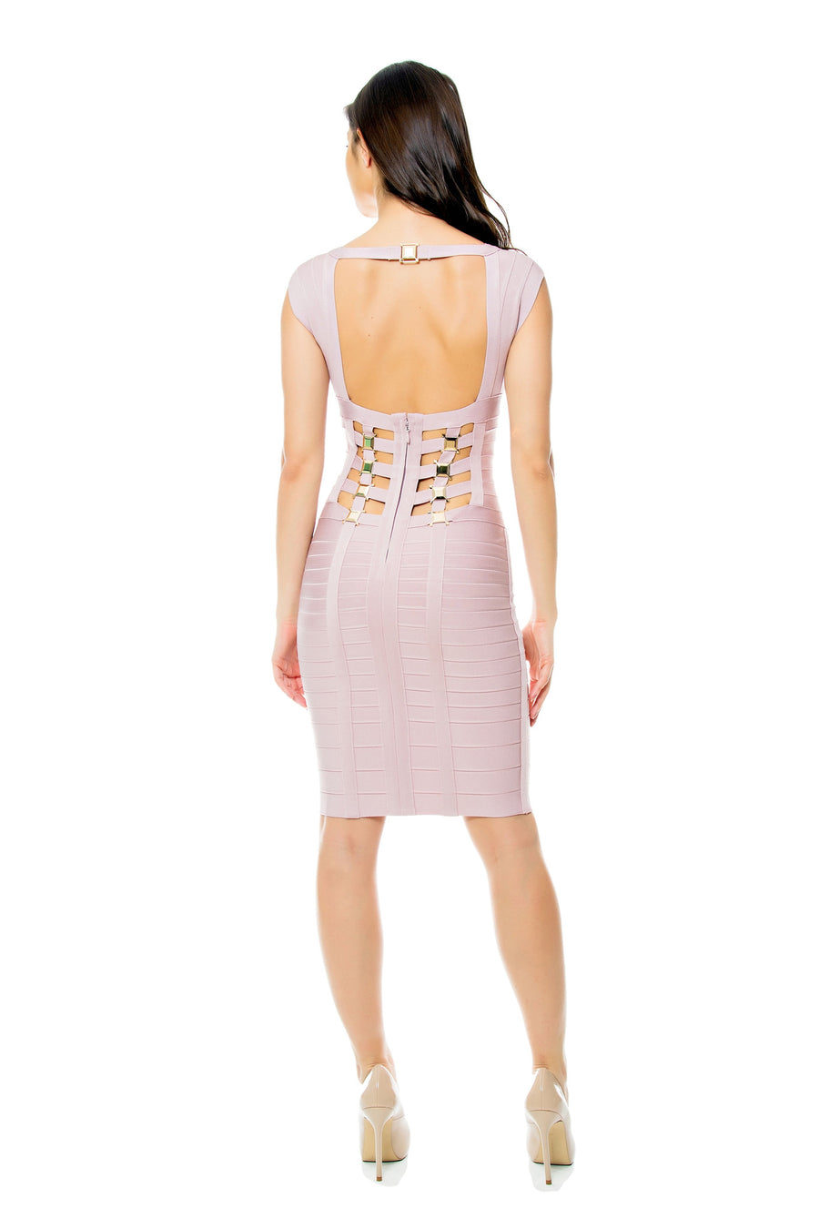 Embellished Bandage Dress with Cutout Back
