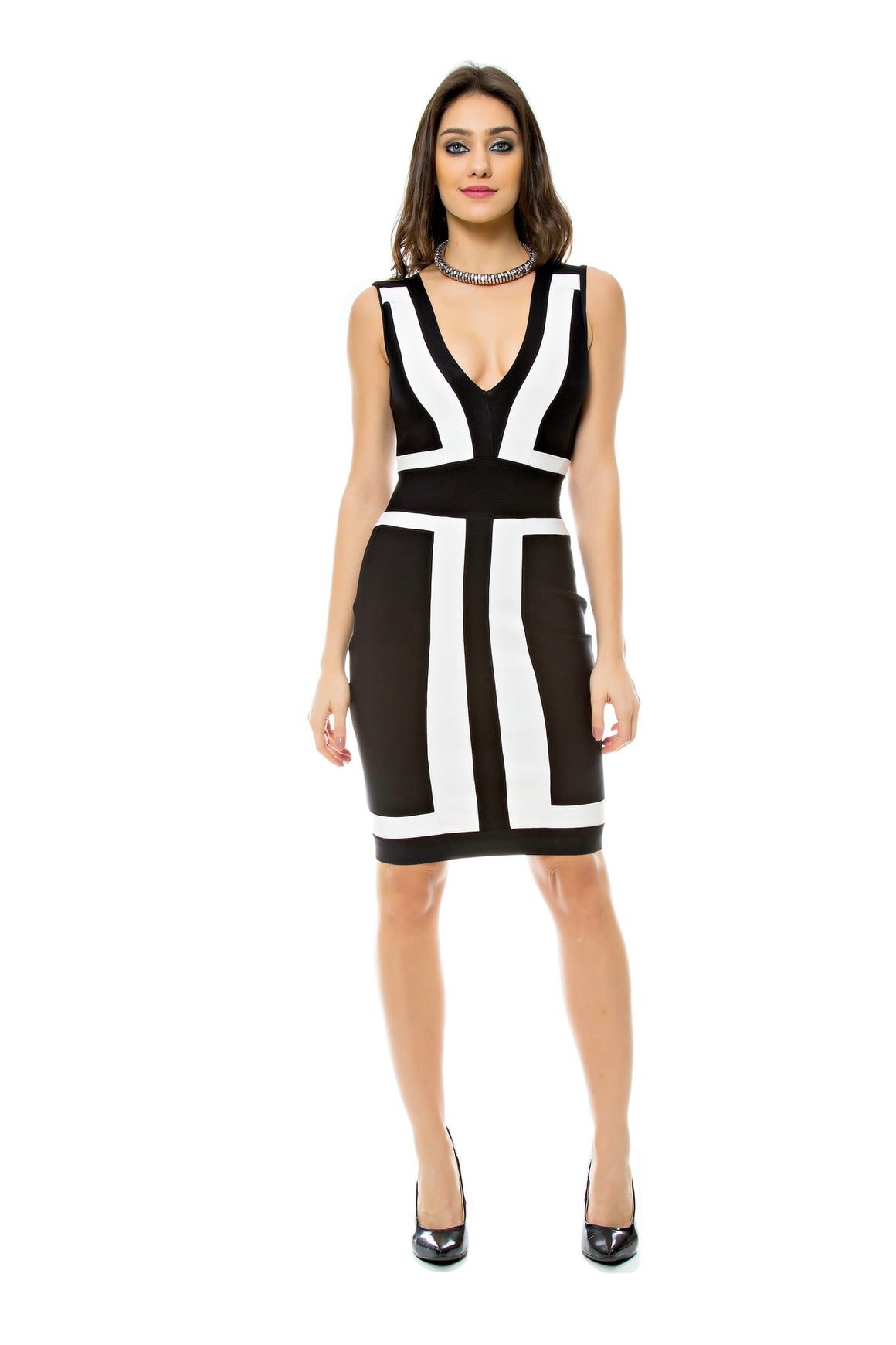 Elegant Color Block Bandage Dress