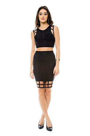 Lattice Hem Midi Skirt