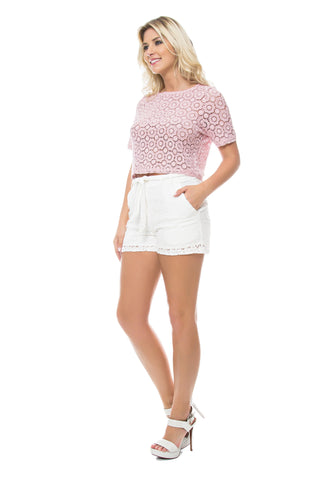 Lace Drawstring Top