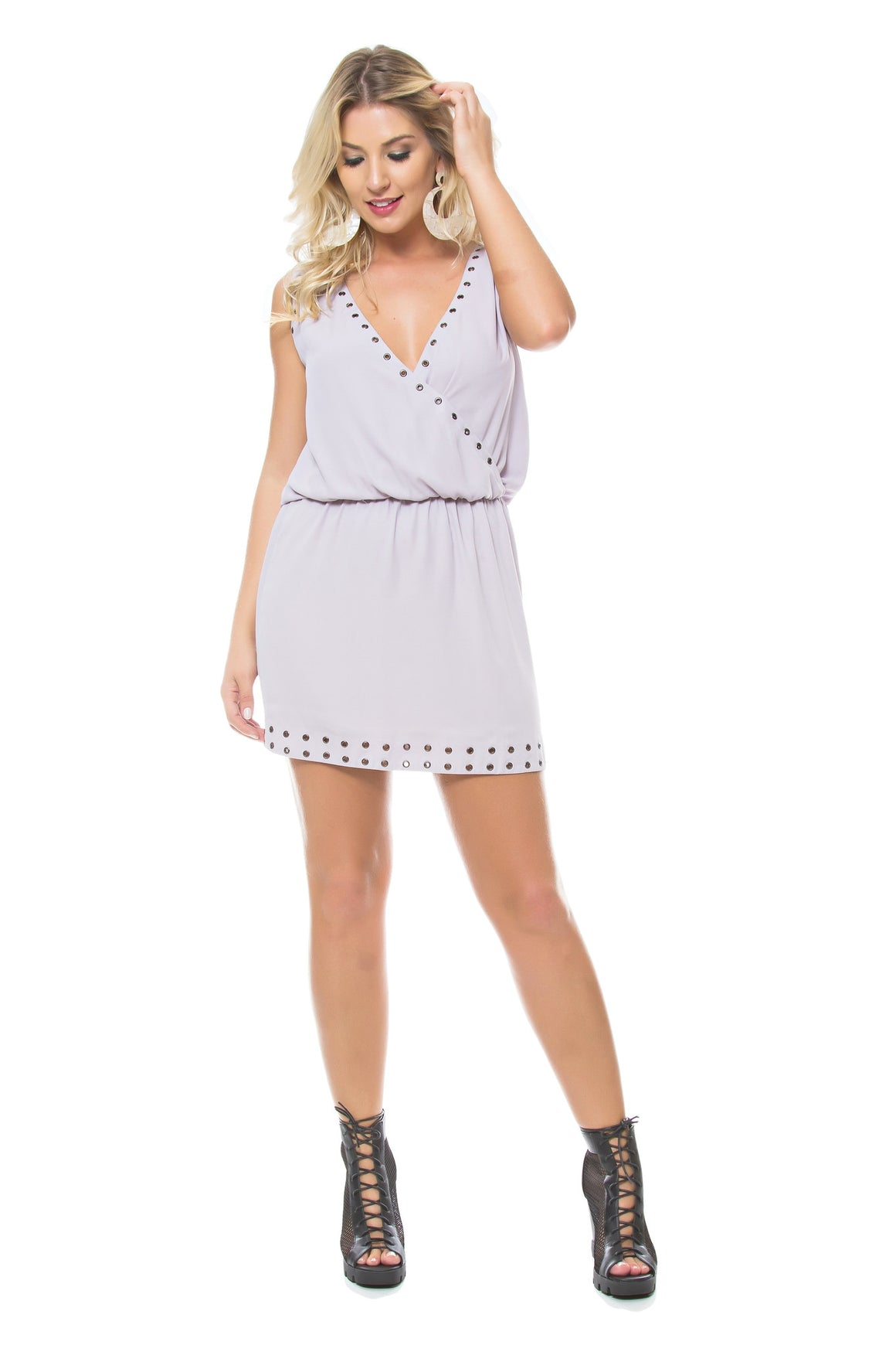 5acc221765d171 Grommet Embellished Dress