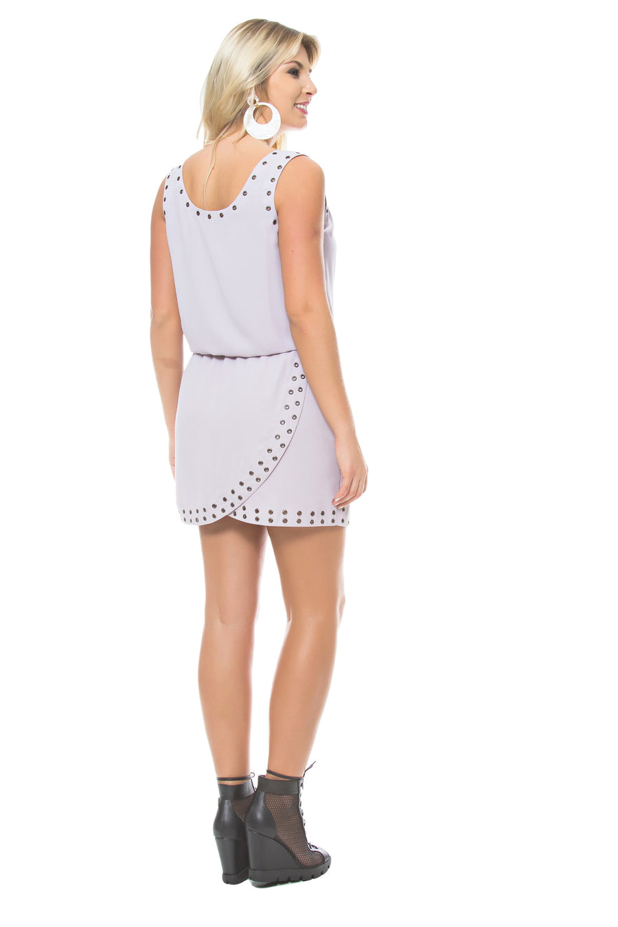 Grommet Embellished Dress
