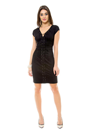 Faux Suede Lace-Up Sheath Dress