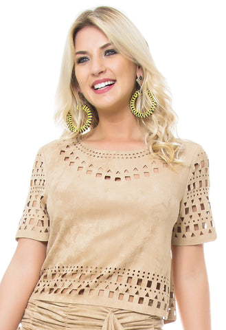 Faux Suede Laser Cut Top