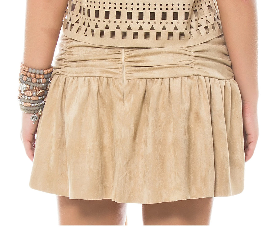 Faux Suede Pleaded Skirt