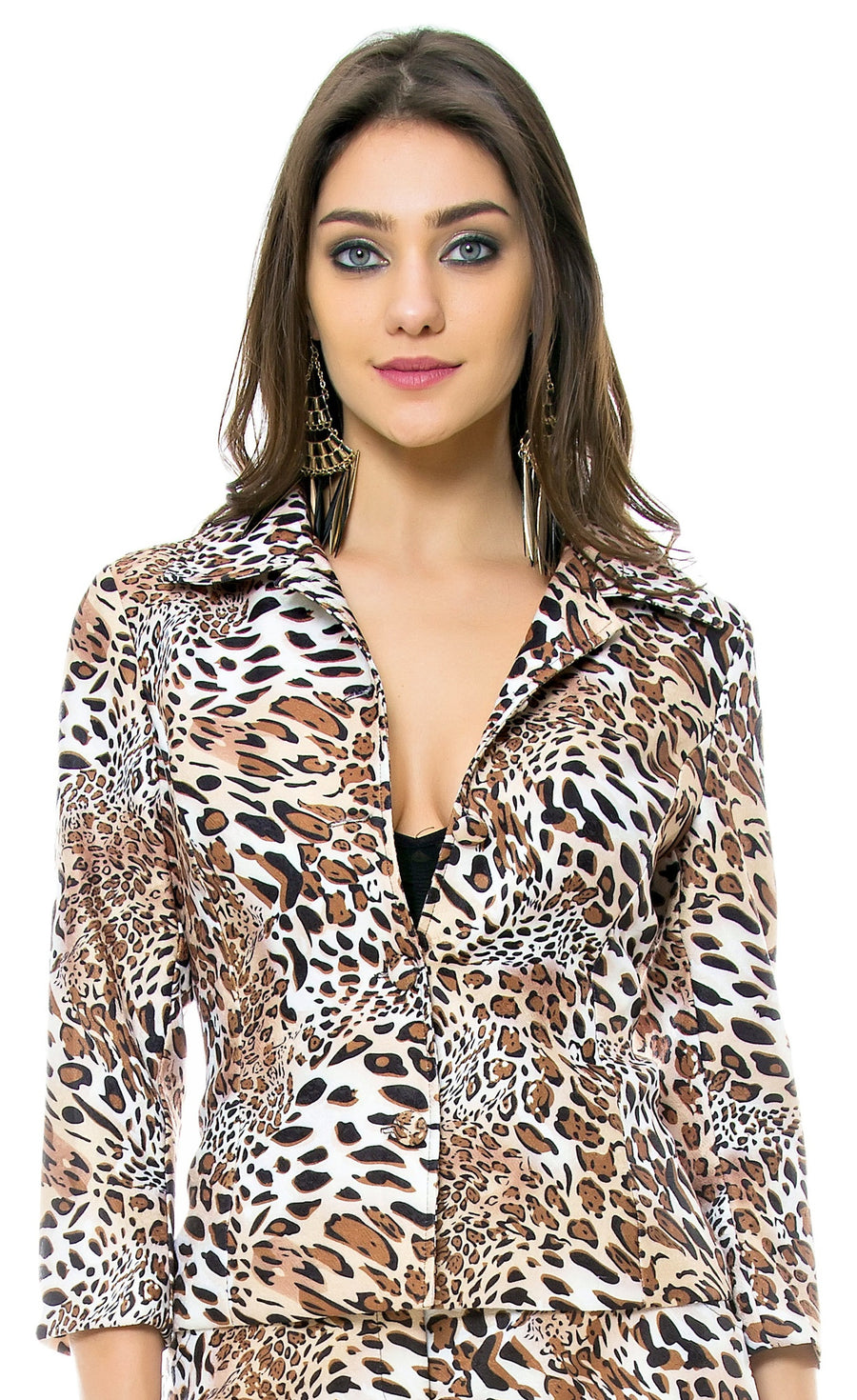 Animal Print 3/4 Sleeve Jacket