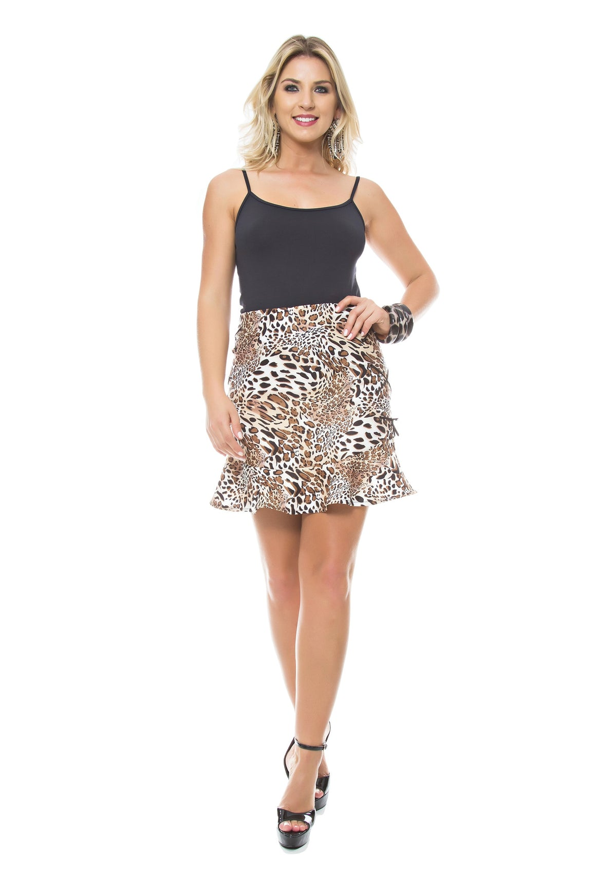 Animal Print Flutter Hem Skirt